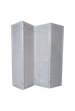 Ширма для комнаты деревянная жалюзийная белая окрашенная ДваДома, 4 секционная