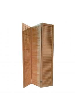 Ширма деревянная для комнаты, жалюзийная без окраски, ДваДома 3 секционная